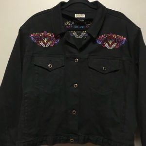 Vintage Stefano Int'l Black Denim Jacket Beaded